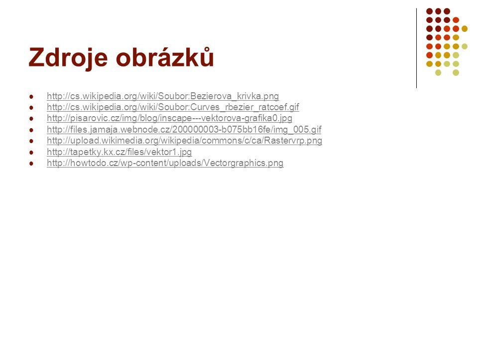 Zdroje obrázků http://cs.wikipedia.org/wiki/Soubor:Bezierova_krivka.png http://cs.wikipedia.org/wiki/Soubor:Curves_rbezier_ratcoef.gif http://pisarovi