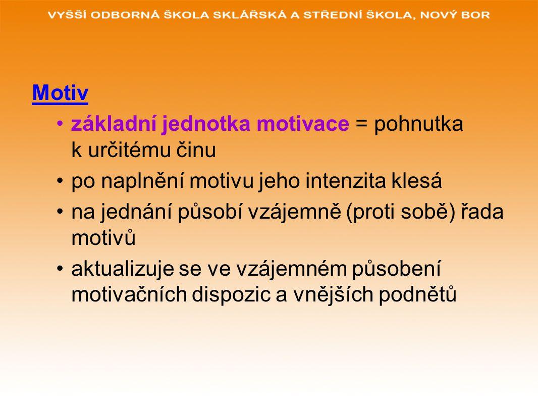Motiv základní jednotka motivace = pohnutka k určitému činu po naplnění motivu jeho intenzita klesá na jednání působí vzájemně (proti sobě) řada motiv