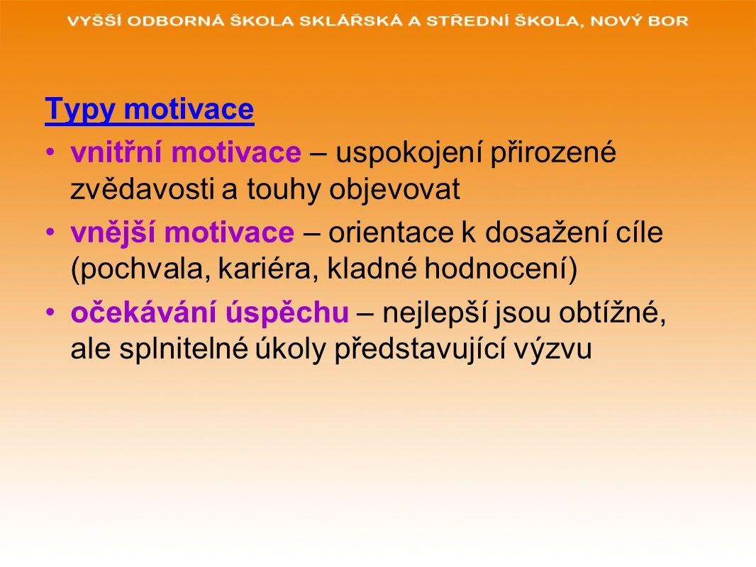 Typy motivace vnitřní motivace – uspokojení přirozené zvědavosti a touhy objevovat vnější motivace – orientace k dosažení cíle (pochvala, kariéra, kla
