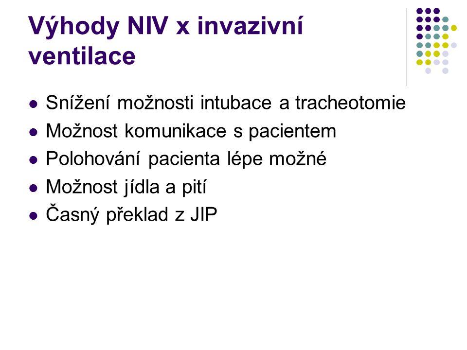 Výhody NIV x invazivní ventilace Není nutná sedace nebo relaxace Intaktní anatomie dýchacích cest Intaktní mukociliární clearance, možnost odkašlání Snížené riziko ventilátorové pneumonie Žádné intubační stenózy Možnost časné intermitentní ventilace