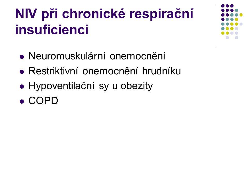NIV při chronické respirační insuficienci Zavedení v nemocnici, další pokračování doma, pravidelné kontroly Hospitalizace při klinickém zhoršení, problémech s maskou, intoleranci NIV nebo při exacerbaci základního onemocnění V Evropě 2001 21000pacientů s NIV