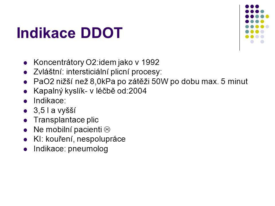 Historie DDOT v ČR Síť pracovišť- kontroly lékařem a ¼ roku, sestrou 1x měsíčně Indikace DDOT 1990 PaO2 7,3kPa nebo méně PaO2 7,3-8,0 kPa+: Hypertenze