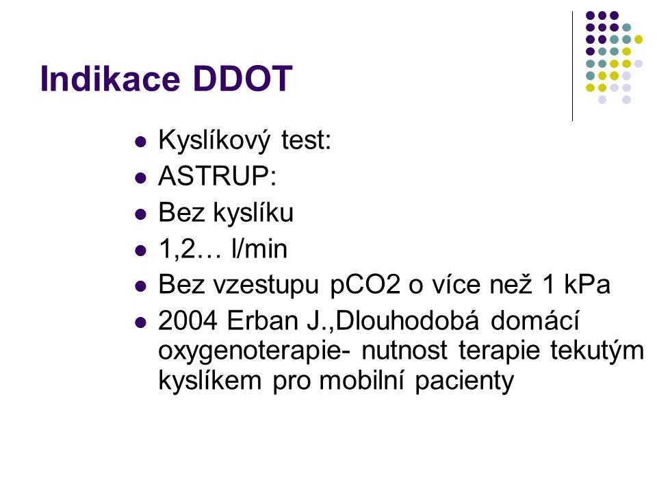 Indikace DDOT Koncentrátory O2:idem jako v 1992 Zvláštní: intersticiální plicní procesy: PaO2 nižší než 8,0kPa po zátěži 50W po dobu max. 5 minut Kapa