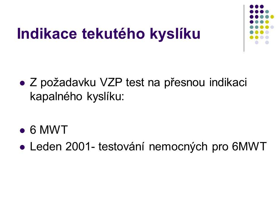 Indikace DDOT Kyslíkový test: ASTRUP: Bez kyslíku 1,2… l/min Bez vzestupu pCO2 o více než 1 kPa 2004 Erban J.,Dlouhodobá domácí oxygenoterapie- nutnost terapie tekutým kyslíkem pro mobilní pacienty