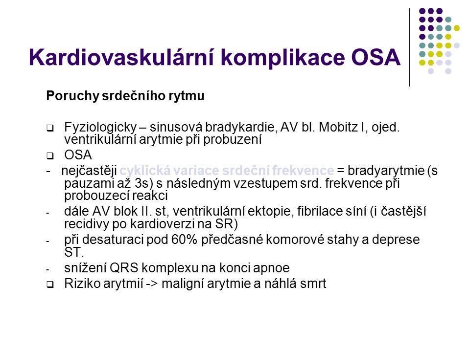 Kardiovaskulární komplikace OSA ICHS, infarkt myokardu  Nejvýznamněji se podílí hypoxemie, spoluúčast je připisována hyperlipidemii a společnému půso