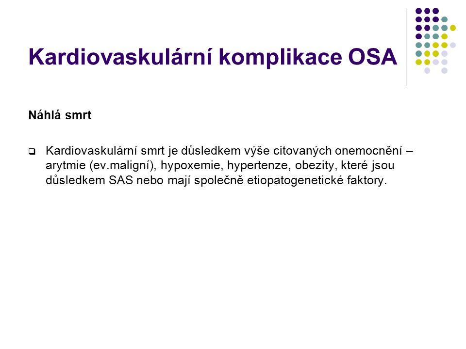 Kardiovaskulární komplikace OSA Poruchy srdečního rytmu  Fyziologicky – sinusová bradykardie, AV bl. Mobitz I, ojed. ventrikulární arytmie při probuz