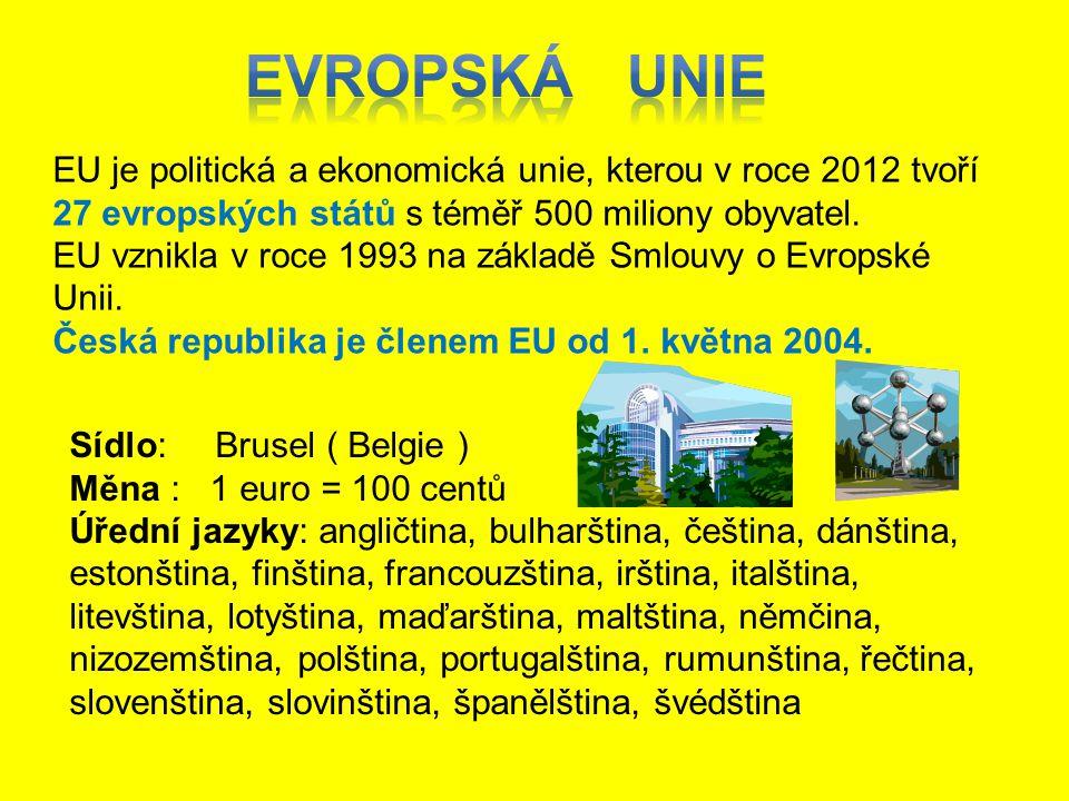 EU je politická a ekonomická unie, kterou v roce 2012 tvoří 27 evropských států s téměř 500 miliony obyvatel. EU vznikla v roce 1993 na základě Smlouv