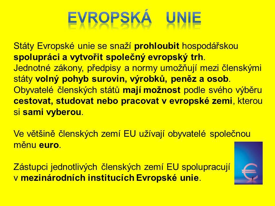 Státy Evropské unie se snaží prohloubit hospodářskou spolupráci a vytvořit společný evropský trh. Jednotné zákony, předpisy a normy umožňují mezi člen