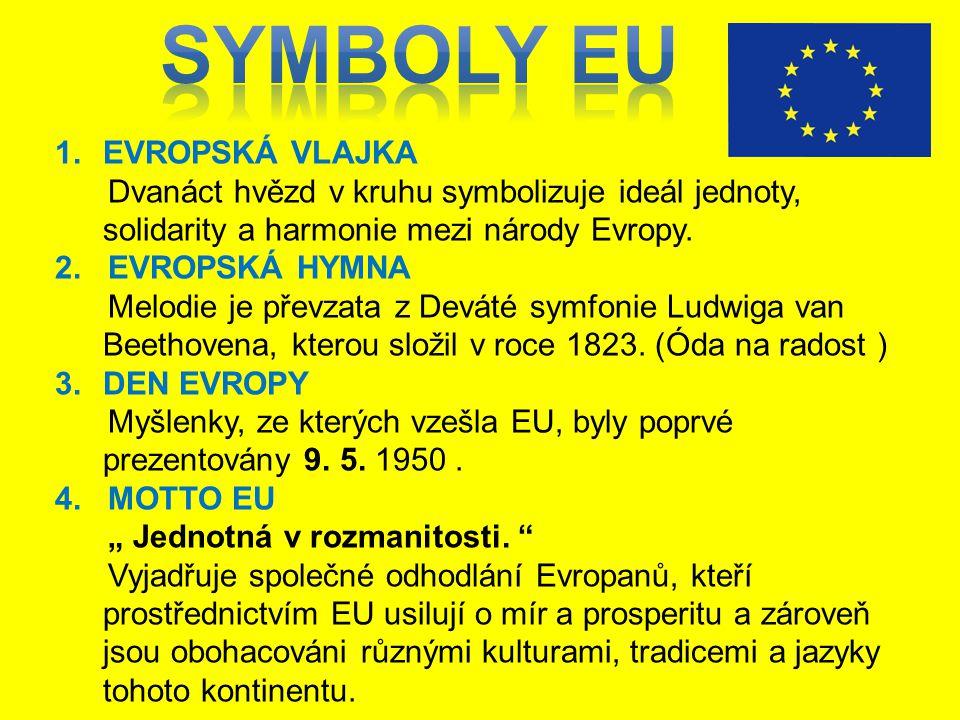 1.EVROPSKÁ VLAJKA Dvanáct hvězd v kruhu symbolizuje ideál jednoty, solidarity a harmonie mezi národy Evropy. 2. EVROPSKÁ HYMNA Melodie je převzata z D