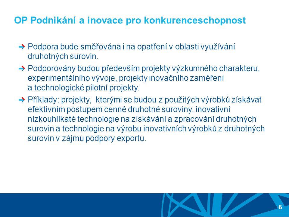 RADA PRO DRUHOTNÉ SUROVINY A ODPADY 5.ZASEDÁNÍ 17. ŘÍJNA 2012 6 OP Podnikání a inovace pro konkurenceschopnost Podpora bude směřována i na opatření v