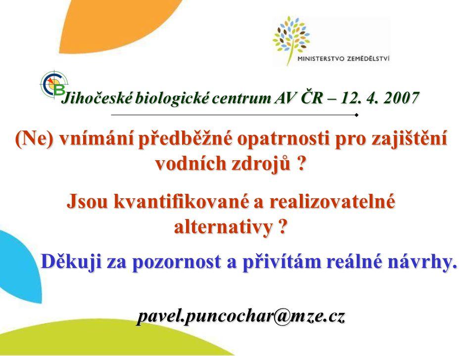 Děkuji za pozornost a přivítám reálné návrhy. pavel.puncochar@mze.cz (Ne) vnímání předběžné opatrnosti pro zajištění vodních zdrojů ? Jsou kvantifikov