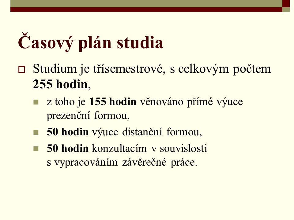 Časový plán studia  Studium je třísemestrové, s celkovým počtem 255 hodin, z toho je 155 hodin věnováno přímé výuce prezenční formou, 50 hodin výuce