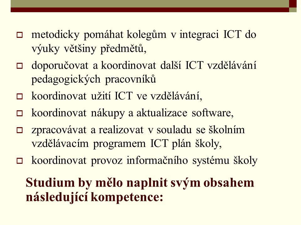  metodicky pomáhat kolegům v integraci ICT do výuky většiny předmětů,  doporučovat a koordinovat další ICT vzdělávání pedagogických pracovníků  koo