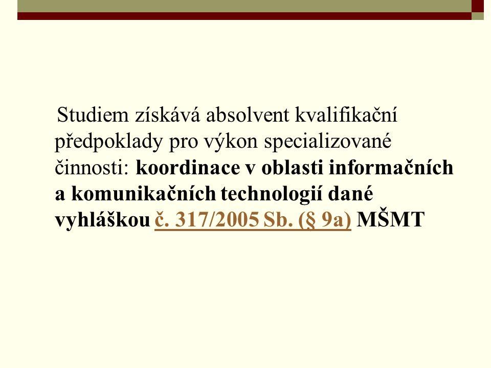 Studiem získává absolvent kvalifikační předpoklady pro výkon specializované činnosti: koordinace v oblasti informačních a komunikačních technologií da