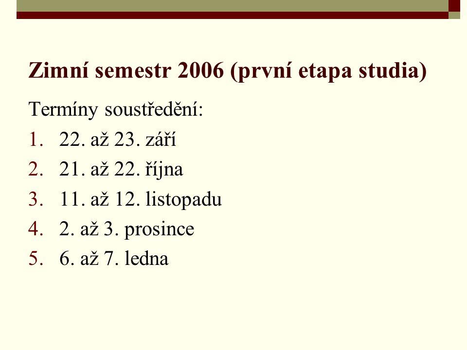 Zimní semestr 2006 (první etapa studia) Termíny soustředění: 1.22. až 23. září 2.21. až 22. října 3.11. až 12. listopadu 4.2. až 3. prosince 5.6. až 7