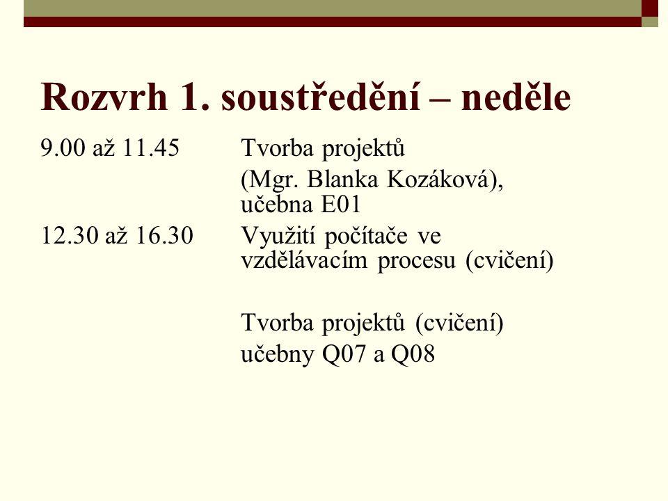 Rozvrh 1. soustředění – neděle 9.00 až 11.45Tvorba projektů (Mgr. Blanka Kozáková), učebna E01 12.30 až 16.30Využití počítače ve vzdělávacím procesu (