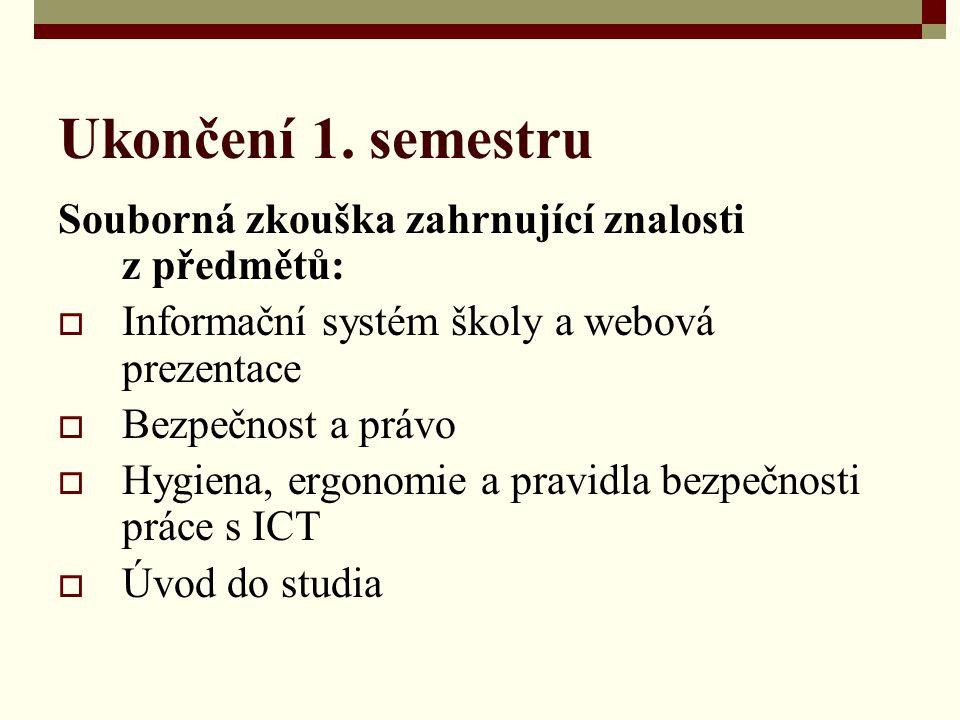 Ukončení 1. semestru Souborná zkouška zahrnující znalosti z předmětů:  Informační systém školy a webová prezentace  Bezpečnost a právo  Hygiena, er