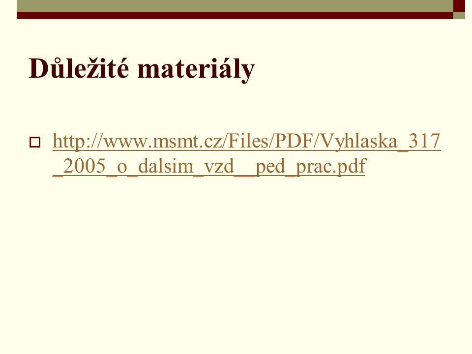 Důležité materiály  http://www.msmt.cz/Files/PDF/Vyhlaska_317 _2005_o_dalsim_vzd__ped_prac.pdf http://www.msmt.cz/Files/PDF/Vyhlaska_317 _2005_o_dals
