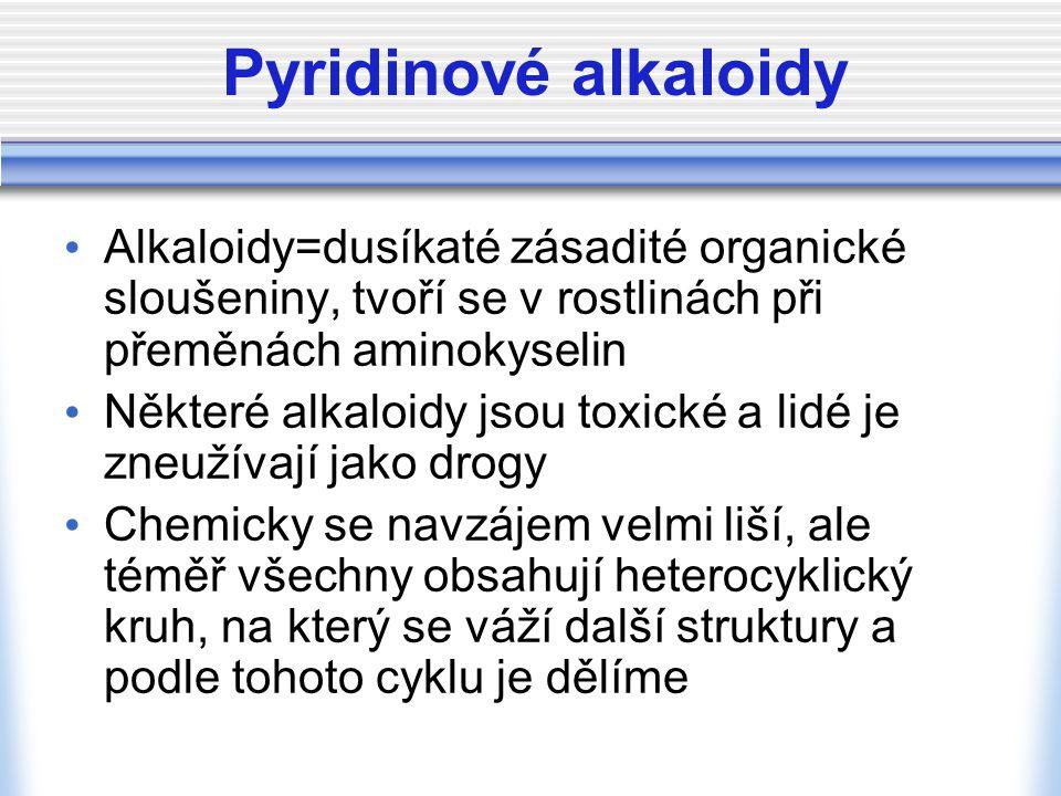 Pyridinové alkaloidy Alkaloidy=dusíkaté zásadité organické sloušeniny, tvoří se v rostlinách při přeměnách aminokyselin Některé alkaloidy jsou toxické