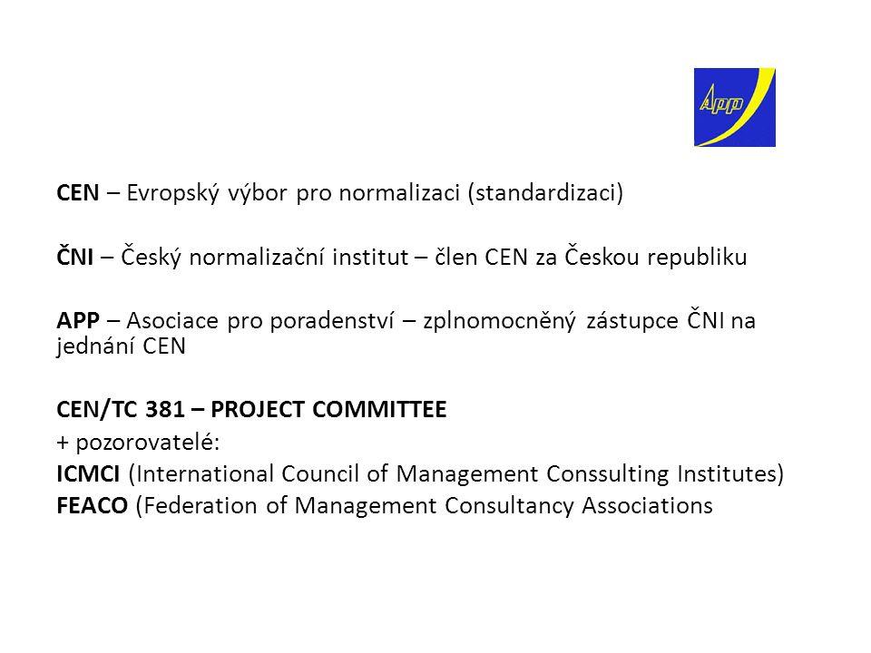 CEN – Evropský výbor pro normalizaci (standardizaci) ČNI – Český normalizační institut – člen CEN za Českou republiku APP – Asociace pro poradenství – zplnomocněný zástupce ČNI na jednání CEN CEN/TC 381 – PROJECT COMMITTEE + pozorovatelé: ICMCI (International Council of Management Conssulting Institutes) FEACO (Federation of Management Consultancy Associations