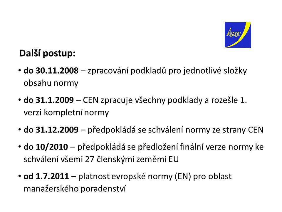 Další postup: do 30.11.2008 – zpracování podkladů pro jednotlivé složky obsahu normy do 31.1.2009 – CEN zpracuje všechny podklady a rozešle 1.