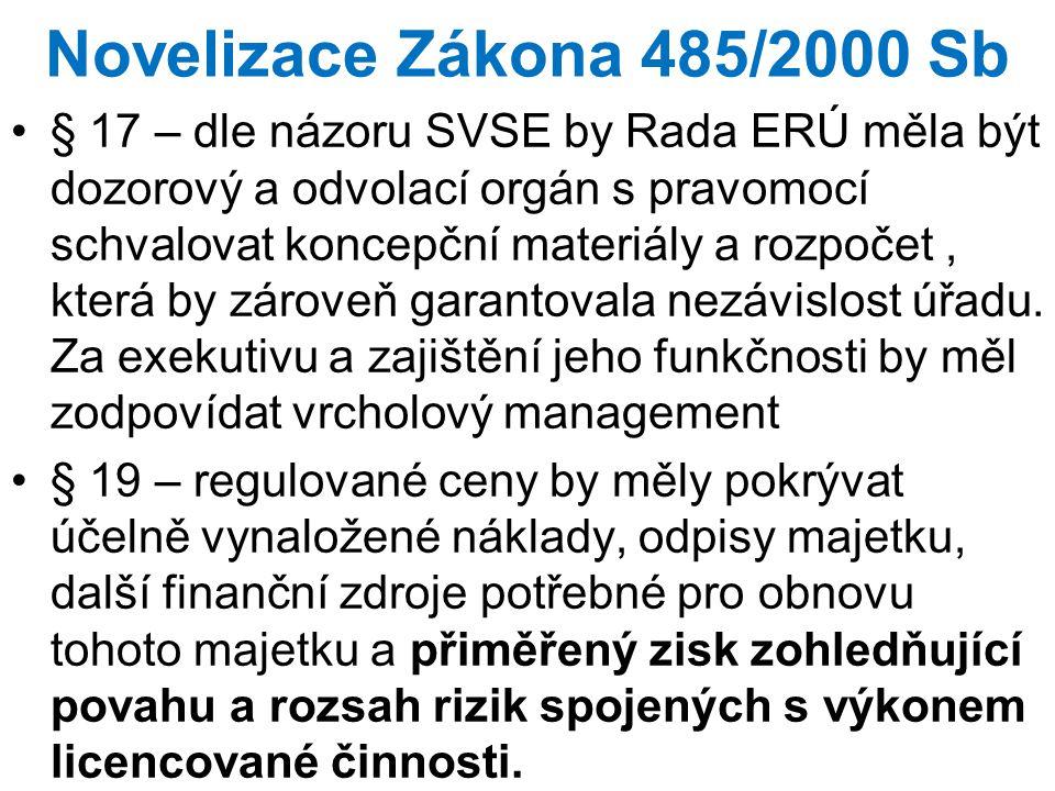 Novelizace Zákona 485/2000 Sb § 17 – dle názoru SVSE by Rada ERÚ měla být dozorový a odvolací orgán s pravomocí schvalovat koncepční materiály a rozpo