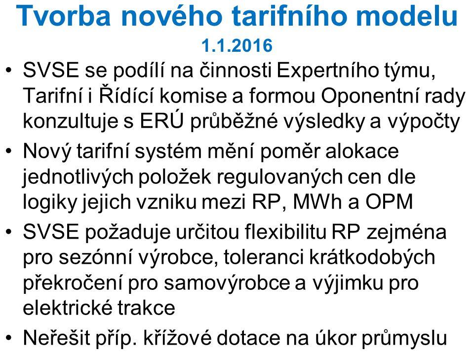 Tvorba nového tarifního modelu 1.1.2016 SVSE se podílí na činnosti Expertního týmu, Tarifní i Řídící komise a formou Oponentní rady konzultuje s ERÚ p