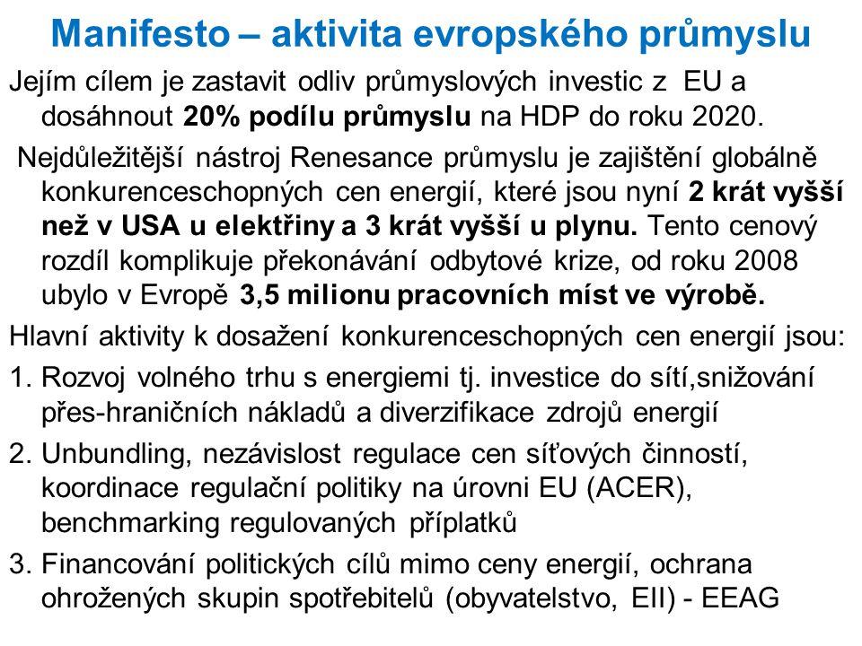 Manifesto – aktivita evropského průmyslu Jejím cílem je zastavit odliv průmyslových investic z EU a dosáhnout 20% podílu průmyslu na HDP do roku 2020.
