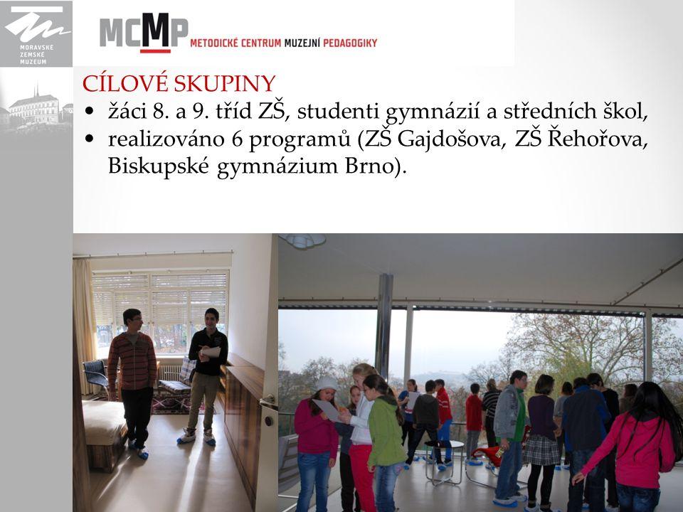 CÍLOVÉ SKUPINY žáci 8. a 9. tříd ZŠ, studenti gymnázií a středních škol, realizováno 6 programů (ZŠ Gajdošova, ZŠ Řehořova, Biskupské gymnázium Brno).