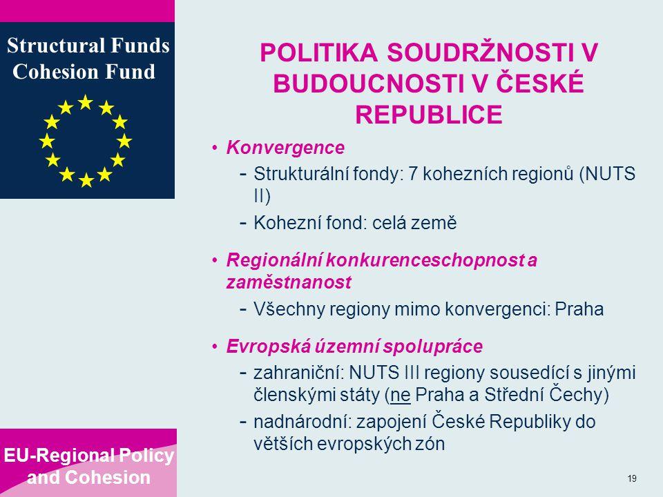 EU-Regional Policy and Cohesion Structural Funds Cohesion Fund 19 POLITIKA SOUDRŽNOSTI V BUDOUCNOSTI V ČESKÉ REPUBLICE Konvergence - Strukturální fondy: 7 kohezních regionů (NUTS II) - Kohezní fond: celá země Regionální konkurenceschopnost a zaměstnanost - Všechny regiony mimo konvergenci: Praha Evropská územní spolupráce - zahraniční: NUTS III regiony sousedící s jinými členskými státy (ne Praha a Střední Čechy) - nadnárodní: zapojení České Republiky do větších evropských zón