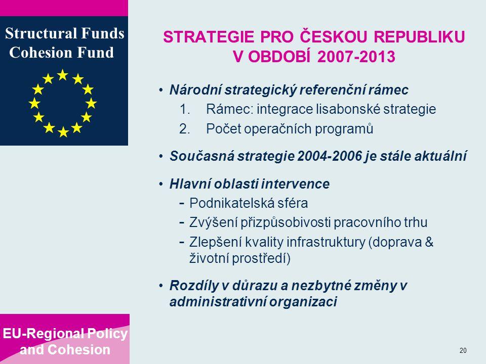 EU-Regional Policy and Cohesion Structural Funds Cohesion Fund 20 STRATEGIE PRO ČESKOU REPUBLIKU V OBDOBÍ 2007-2013 Národní strategický referenční rámec 1.