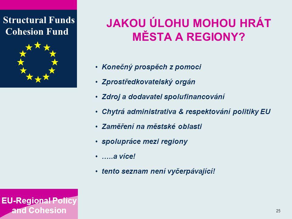 EU-Regional Policy and Cohesion Structural Funds Cohesion Fund 25 JAKOU ÚLOHU MOHOU HRÁT MĚSTA A REGIONY? Konečný prospěch z pomoci Zprostředkovatelsk