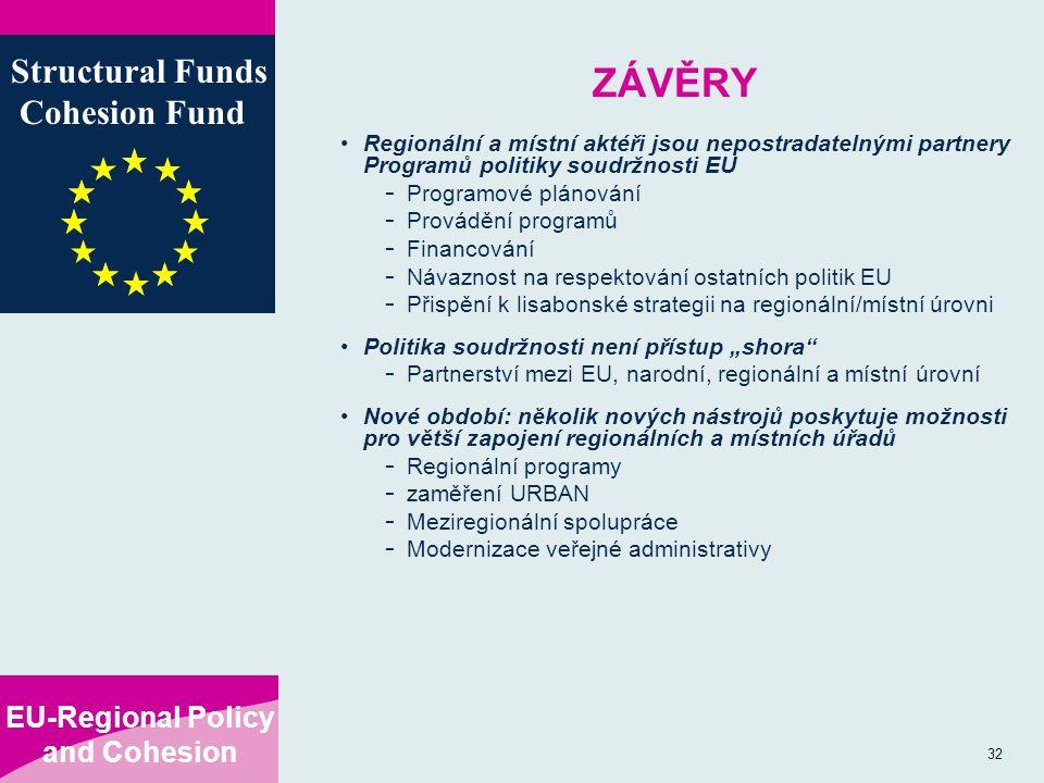 """EU-Regional Policy and Cohesion Structural Funds Cohesion Fund 32 ZÁVĚRY Regionální a místní aktéři jsou nepostradatelnými partnery Programů politiky soudržnosti EU - Programové plánování - Provádění programů - Financování - Návaznost na respektování ostatních politik EU - Přispění k lisabonské strategii na regionální/místní úrovni Politika soudržnosti není přístup """"shora - Partnerství mezi EU, narodní, regionální a místní úrovní Nové období: několik nových nástrojů poskytuje možnosti pro větší zapojení regionálních a místních úřadů - Regionální programy - zaměření URBAN - Meziregionální spolupráce - Modernizace veřejné administrativy"""