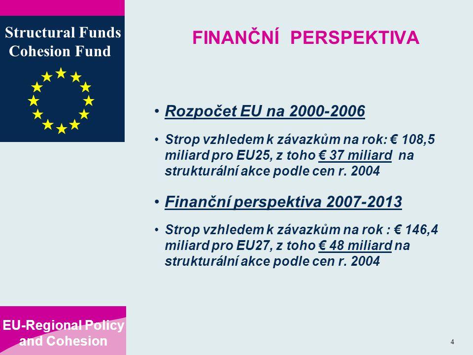 EU-Regional Policy and Cohesion Structural Funds Cohesion Fund 4 FINANČNÍ PERSPEKTIVA Rozpočet EU na 2000-2006 Strop vzhledem k závazkům na rok: € 108,5 miliard pro EU25, z toho € 37 miliard na strukturální akce podle cen r.