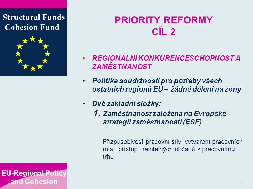 EU-Regional Policy and Cohesion Structural Funds Cohesion Fund 7 PRIORITY REFORMY CÍL 2 REGIONÁLNÍ KONKURENCESCHOPNOST A ZAMĚSTNANOST Politika soudržnosti pro potřeby všech ostatních regionů EU – žádné dělení na zóny Dvě základní složky: 1.