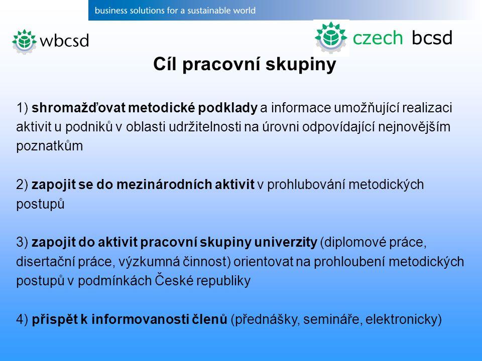 czech bcsd Cíl pracovní skupiny 1) shromažďovat metodické podklady a informace umožňující realizaci aktivit u podniků v oblasti udržitelnosti na úrovn