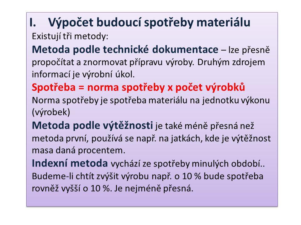 I.Výpočet budoucí spotřeby materiálu Existují tři metody: Metoda podle technické dokumentace – lze přesně propočítat a znormovat přípravu výroby.