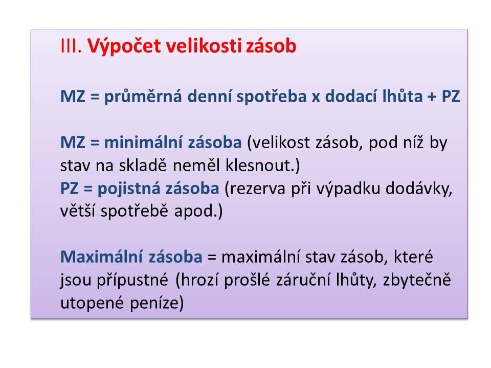 III. Výpočet velikosti zásob MZ = průměrná denní spotřeba x dodací lhůta + PZ MZ = minimální zásoba (velikost zásob, pod níž by stav na skladě neměl k