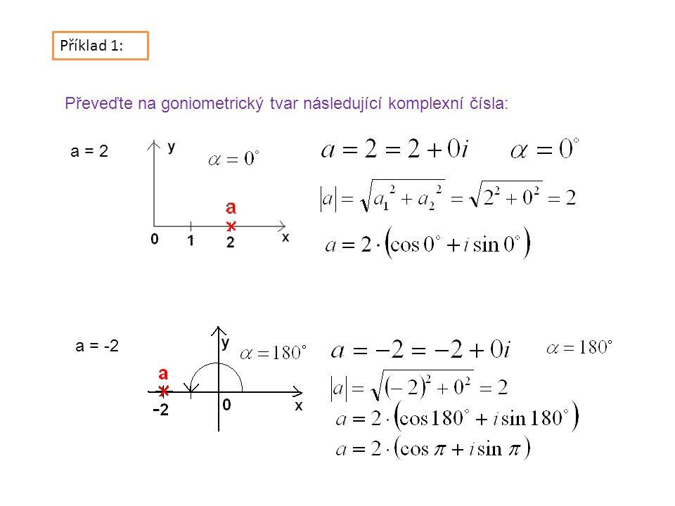 Příklad 1: Převeďte na goniometrický tvar následující komplexní čísla: a = 2 a = -2