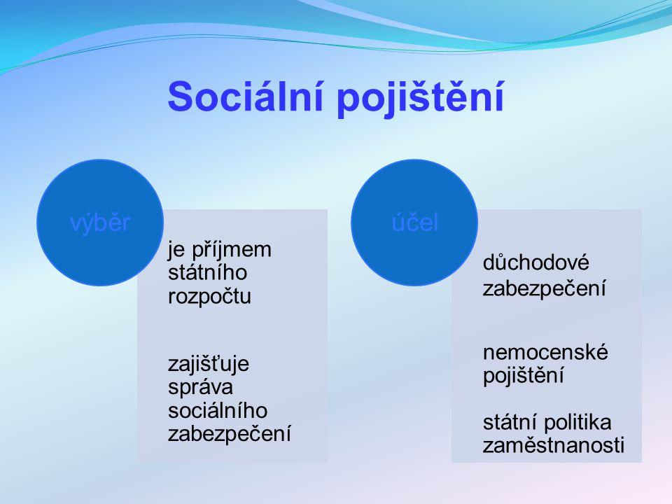 Sociální pojištění je příjmem státního rozpočtu zajišťuje správa sociálního zabezpečení výběr důchodové zabezpečení nemocenské pojištění státní politi