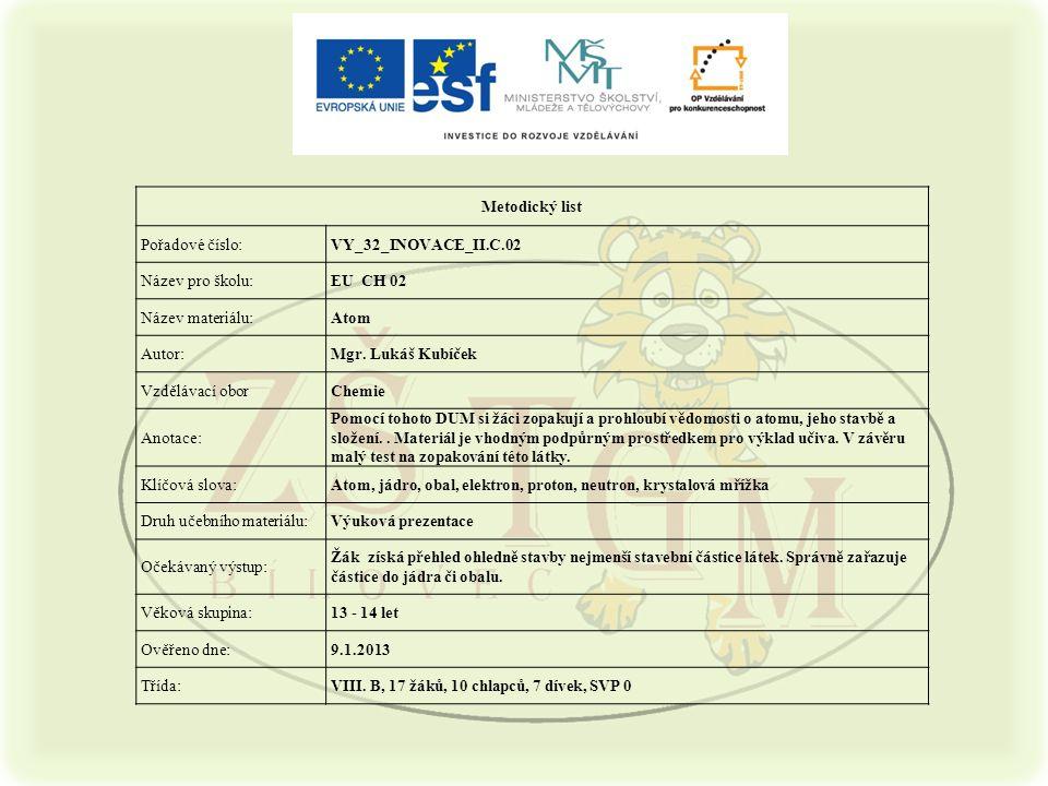 Metodický list Pořadové číslo:VY_32_INOVACE_II.C.02 Název pro školu:EU CH 02 Název materiálu:Atom Autor:Mgr.