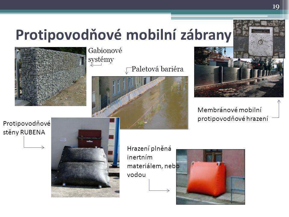Protipovodňové mobilní zábrany Gabionové systémy Paletová bariéra Protipovodňové stěny RUBENA Hrazení plněná inertním materiálem, nebo vodou Membránov