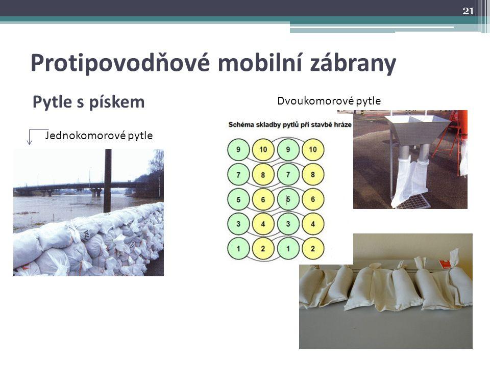 Protipovodňové mobilní zábrany Pytle s pískem Dvoukomorové pytle Jednokomorové pytle 21