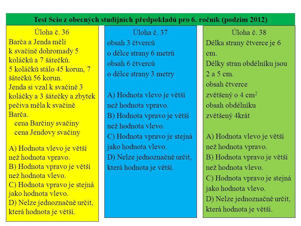 Test Scio z obecných studijních předpokladů pro 6. ročník (podzim 2012) Úloha č. 36 Barča a Jenda měli k svačině dohromady 5 koláčků a 7 šátečků. 5 ko