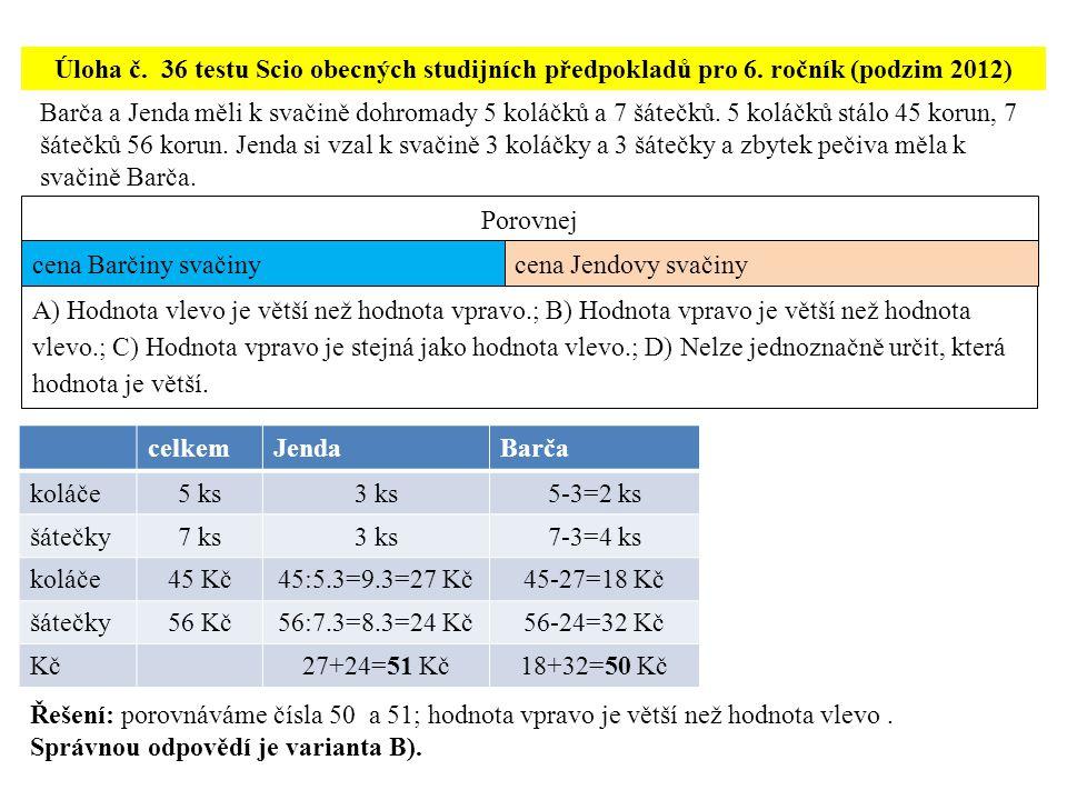 Úloha č.37 testu Scio z obecných studijních předpokladů pro 6.