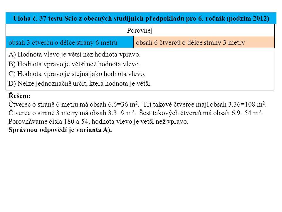 Úloha č. 37 testu Scio z obecných studijních předpokladů pro 6. ročník (podzim 2012) Řešení: Čtverec o straně 6 metrů má obsah 6.6=36 m 2. Tři takové