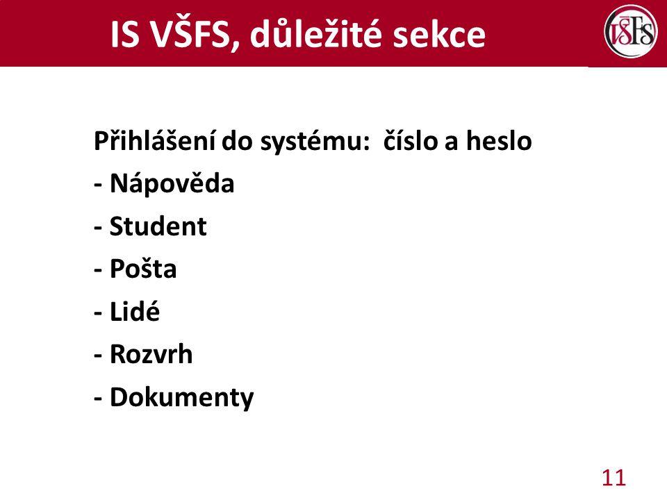 IS VŠFS, důležité sekce Přihlášení do systému: číslo a heslo - Nápověda - Student - Pošta - Lidé - Rozvrh - Dokumenty 11