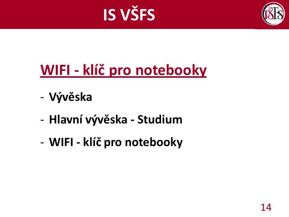 IS VŠFS WIFI - klíč pro notebooky -Vývěska -Hlavní vývěska - Studium -WIFI - klíč pro notebooky 14