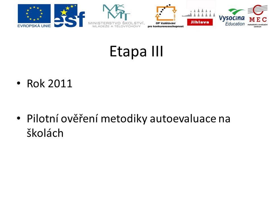 Etapa III Rok 2011 Pilotní ověření metodiky autoevaluace na školách