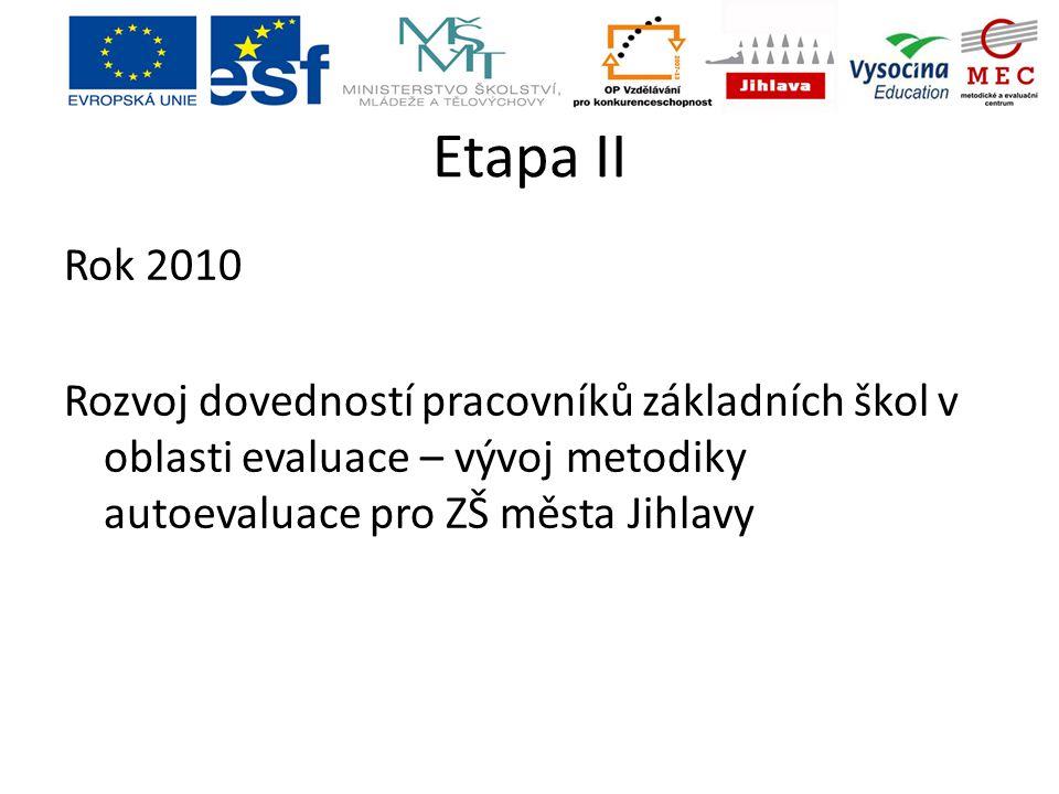Etapa II Rok 2010 Rozvoj dovedností pracovníků základních škol v oblasti evaluace – vývoj metodiky autoevaluace pro ZŠ města Jihlavy